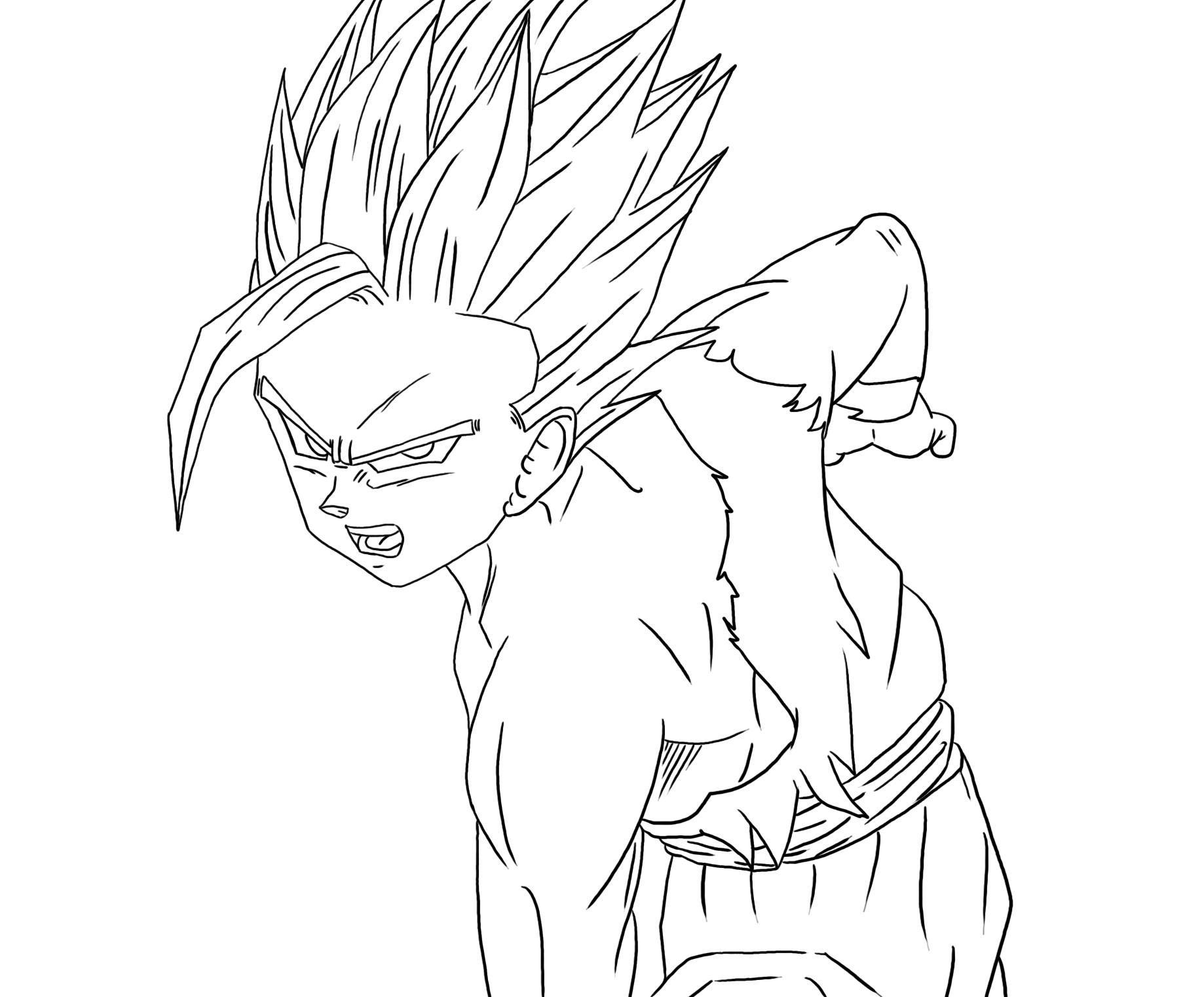 Dibujos Para Colorear De Dragon Ball Z Gohan Ssj2 Ideas: Coloriage De Sangohan Adulte